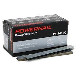 """Picture of 20 Ga. Staples, 3/16"""" Crown, 9/16"""" leg EACH (5,000 ct)"""